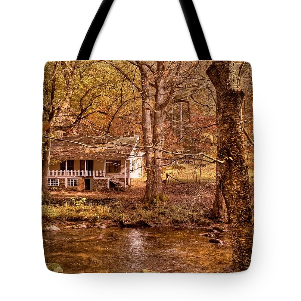 20 Mile Cascade Tote Bag featuring the photograph Through The Woods by Debra and Dave Vanderlaan