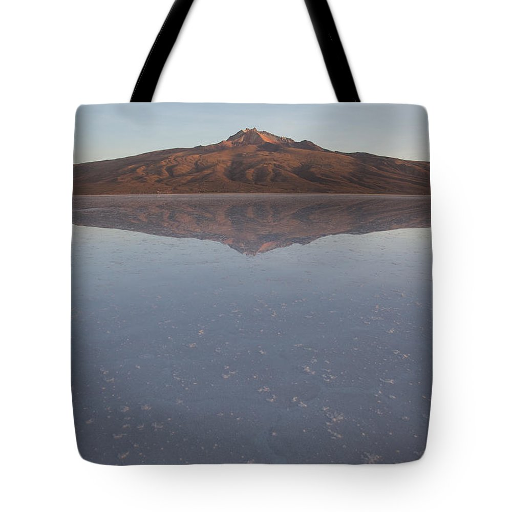 Color Image Tote Bag featuring the photograph Thunupa Volcano Refelcted On The Salar by Michael &Amp Jennifer Lewis