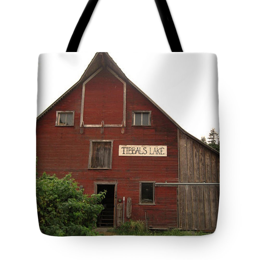 Red Barn Tote Bag featuring the photograph Tibbals Lake Red Barn by Kym Backland