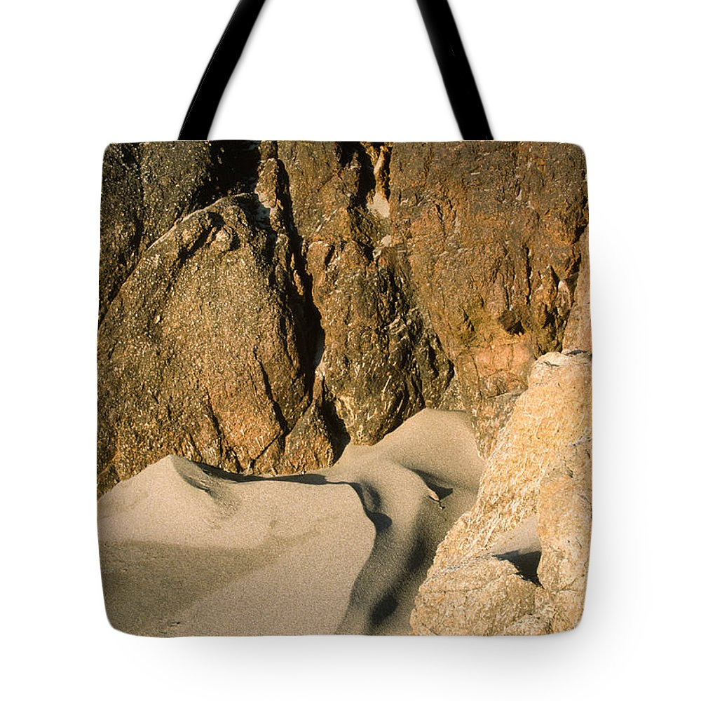 Harris Beach Tote Bag featuring the photograph Tide Sculpture by Sandra Bronstein