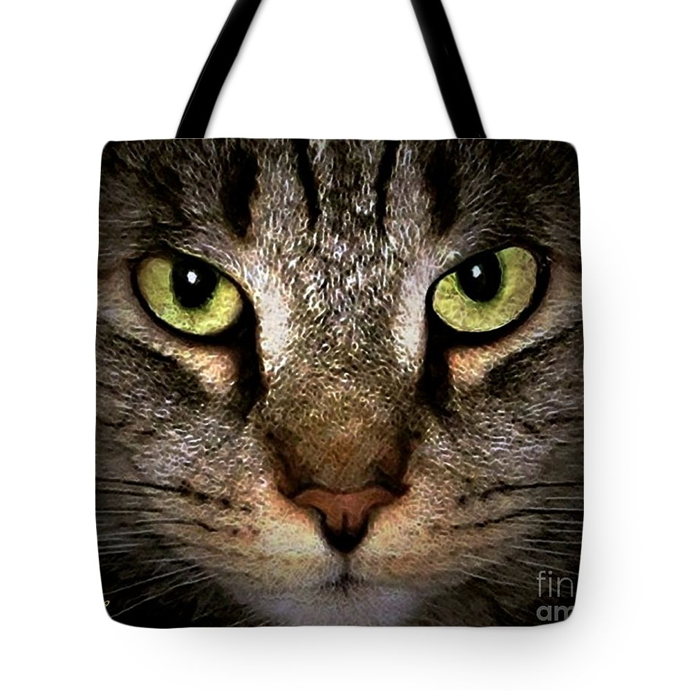 Cats Tote Bag featuring the digital art Tiger Tiger by Dale  Ford