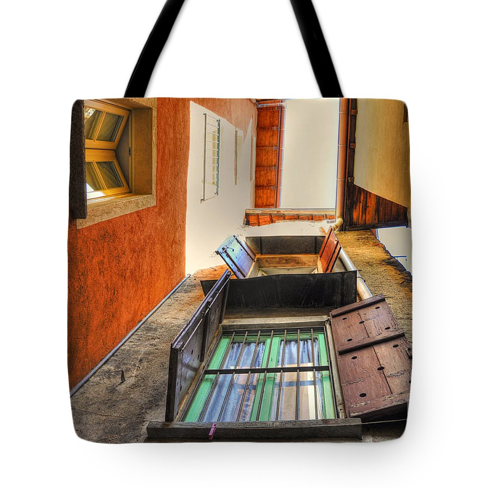 Patio Tote Bag featuring the photograph Tight Patio by Mats Silvan