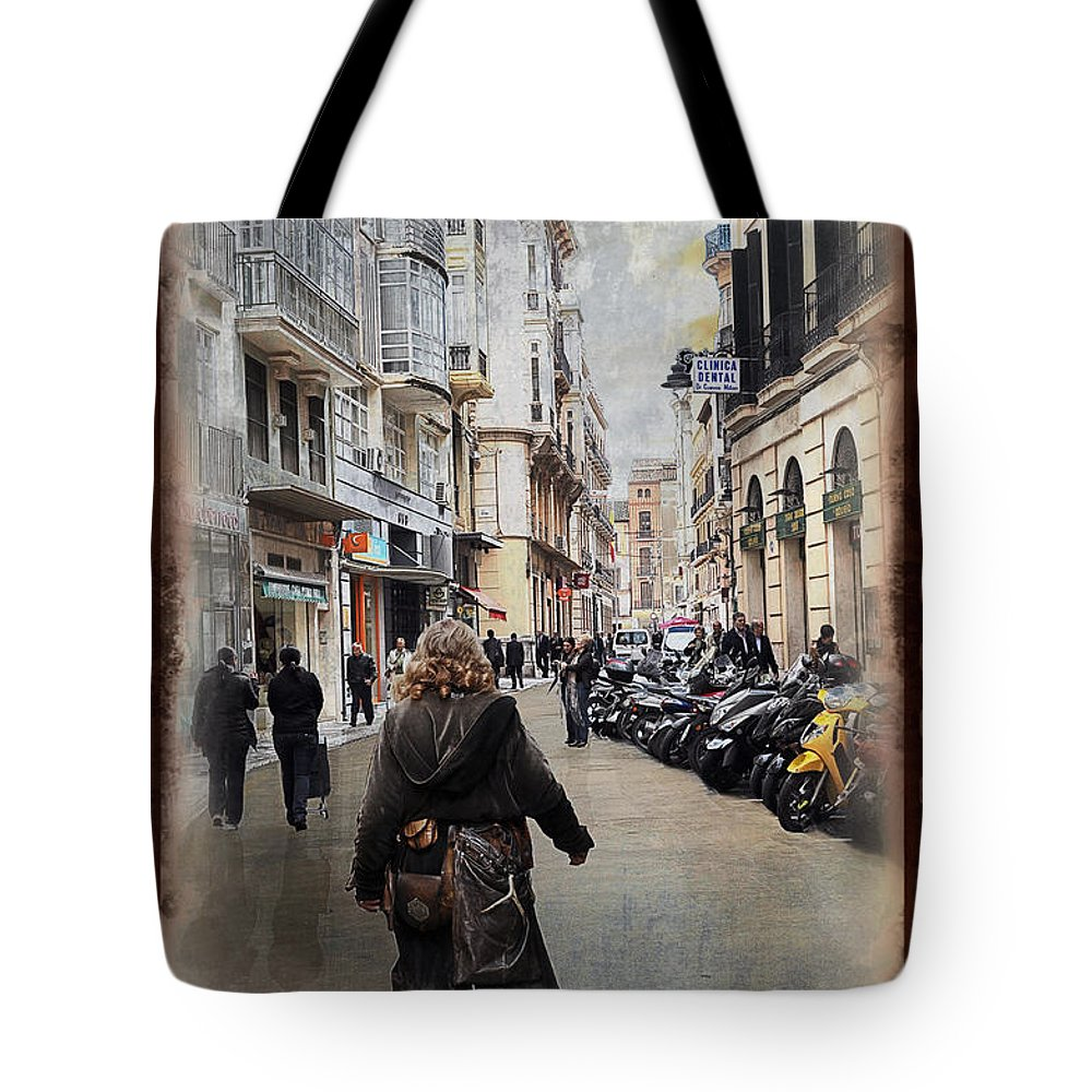 Time Tote Bag featuring the photograph Time Warp In Malaga by Mary Machare