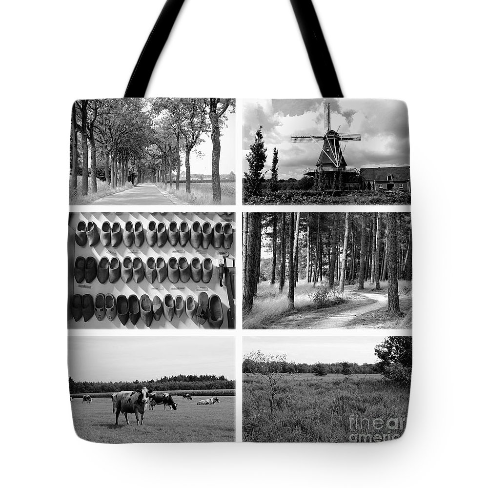 Holland Tote Bag featuring the photograph Timeless Brabant Collage - Black And White by Carol Groenen