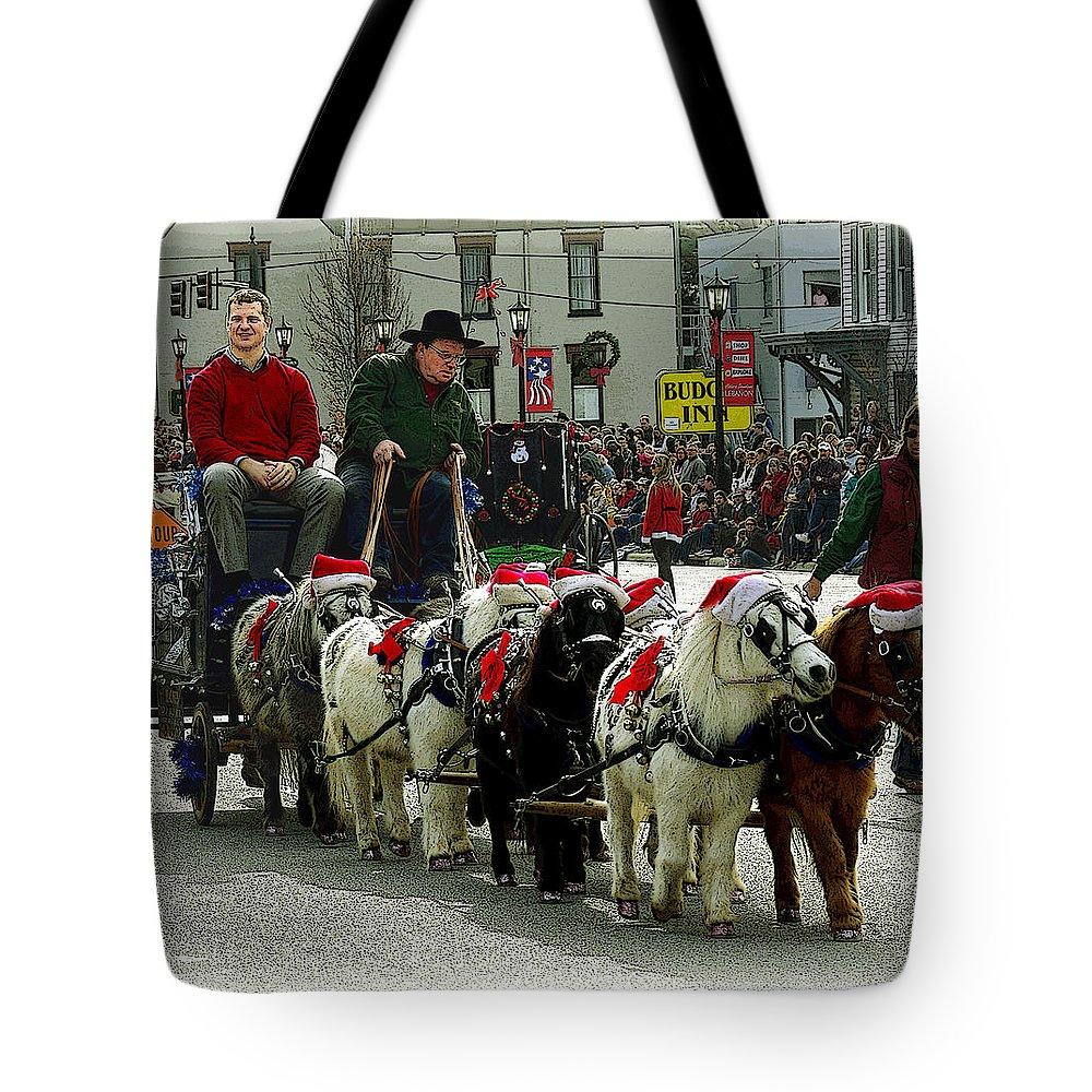 Horses Tote Bag featuring the photograph Tiny Pony Carriage by Jenny Gandert