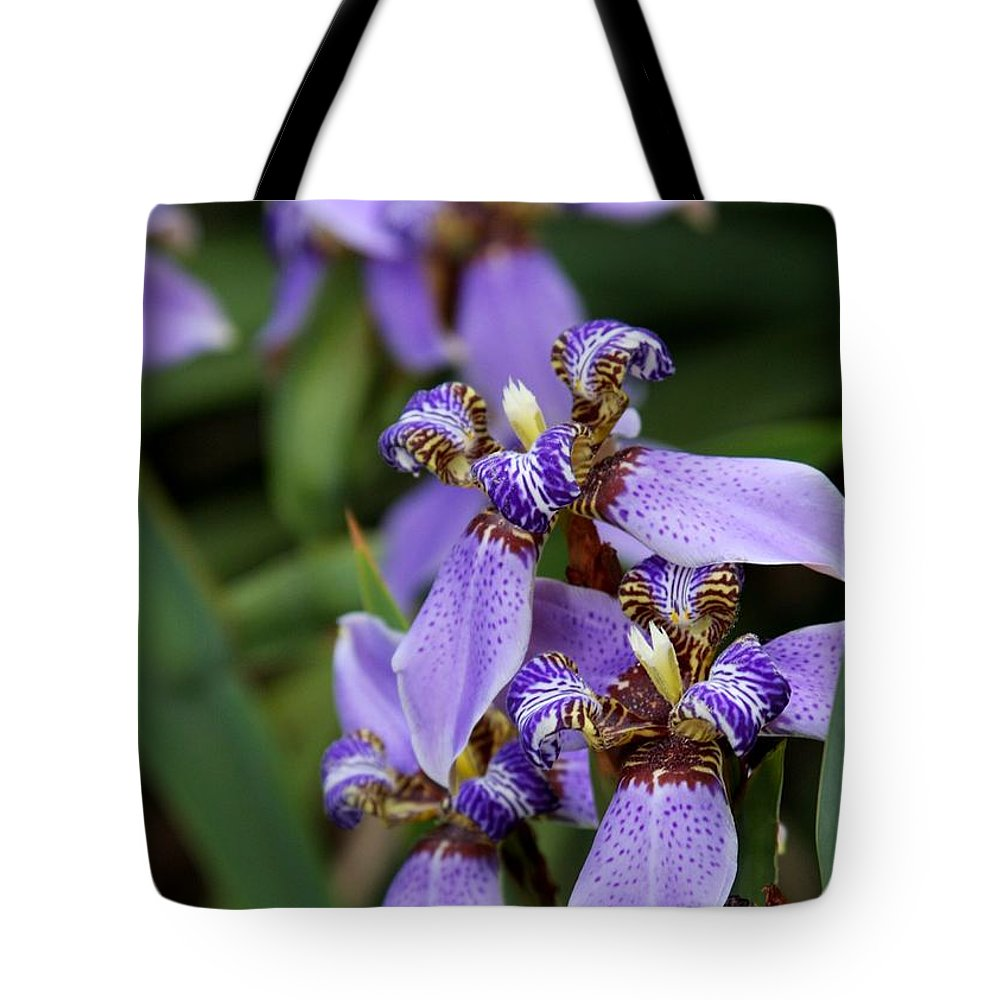 Landscape Tote Bag featuring the photograph Tiny Purple Iris by Sabrina L Ryan
