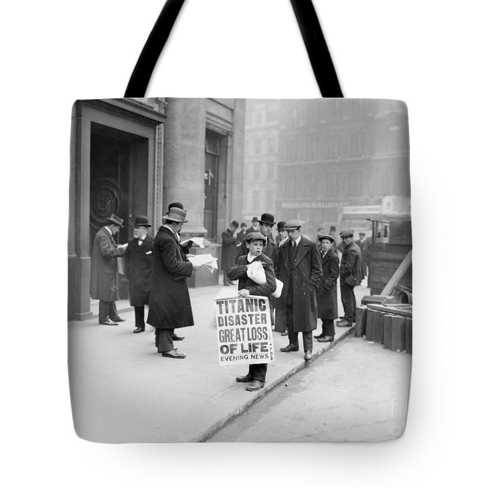 1912 Tote Bag featuring the photograph Titanic Disaster, 1912 by Granger