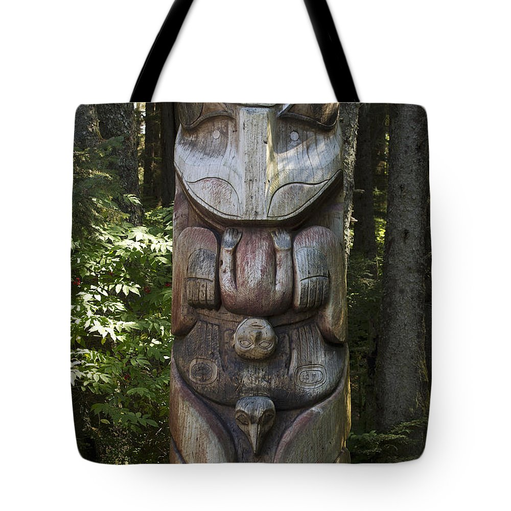 Mp Tote Bag featuring the photograph Tlingit Totem Pole, Sitka National by Matthias Breiter