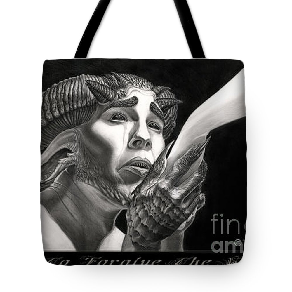 To Forgive The Wicked Tote Bag featuring the drawing To Forgive The Wicked by Tony Koehl
