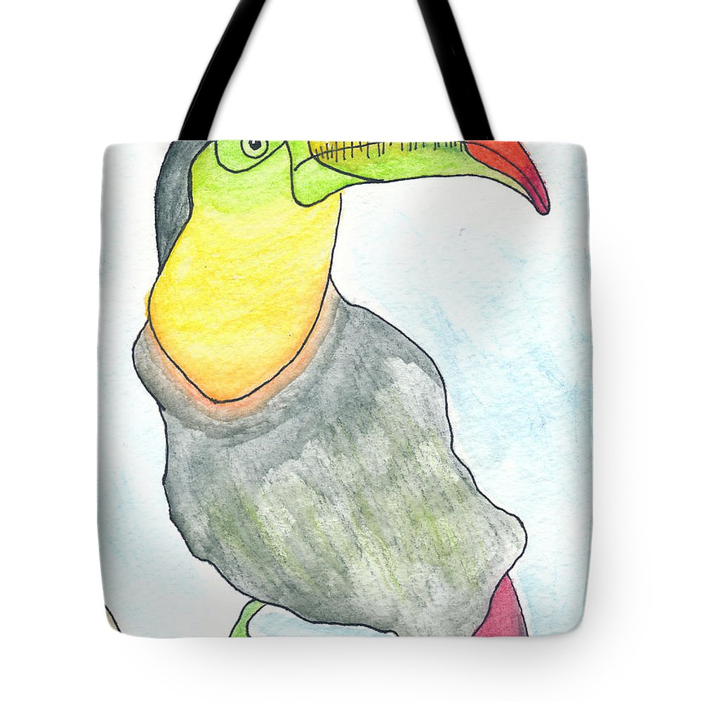 Toucan Bird Tote Bag featuring the drawing Tooooouc by Michael Mooney