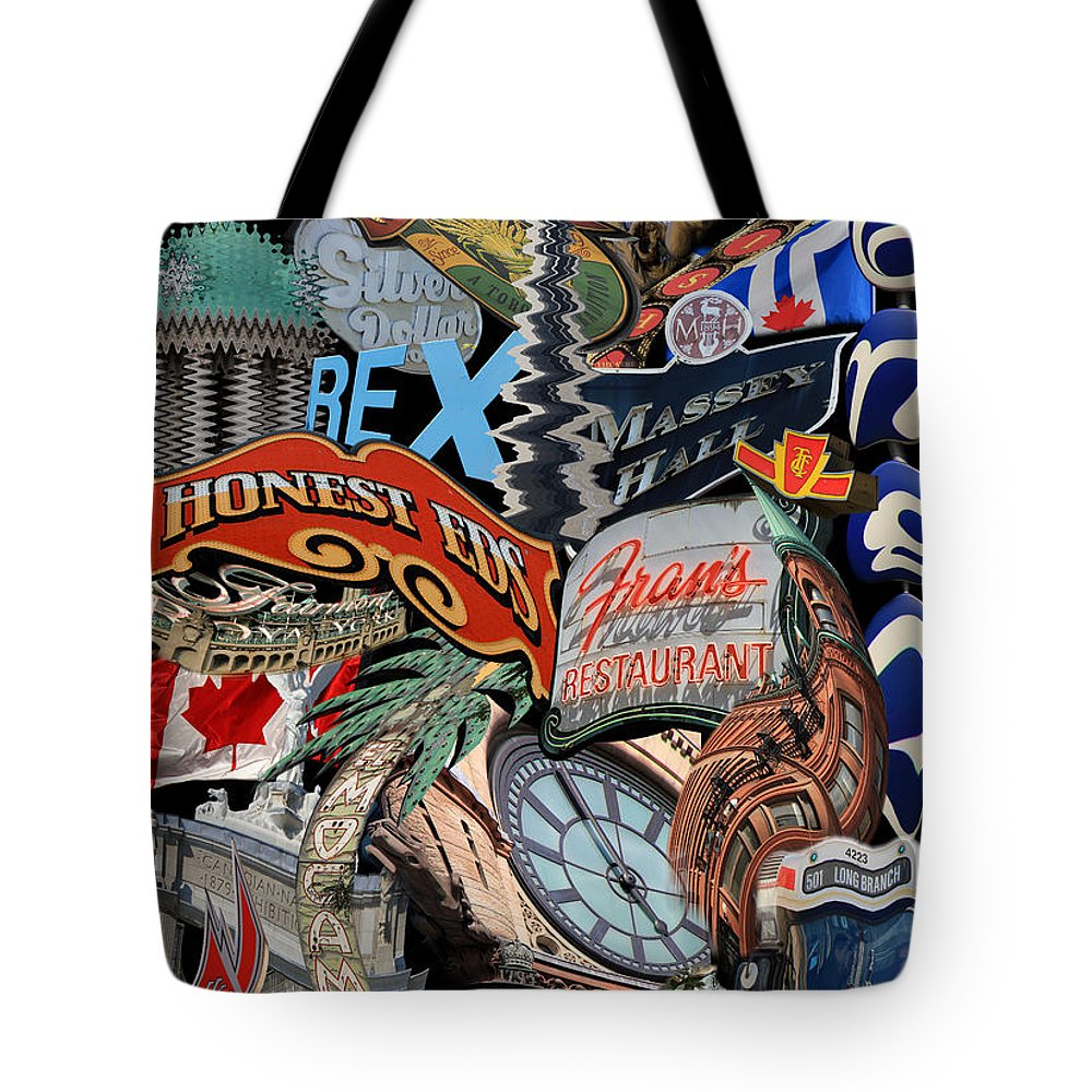 Toronto Tote Bag featuring the photograph Toronto Pop Art Montage by Andrew Fare