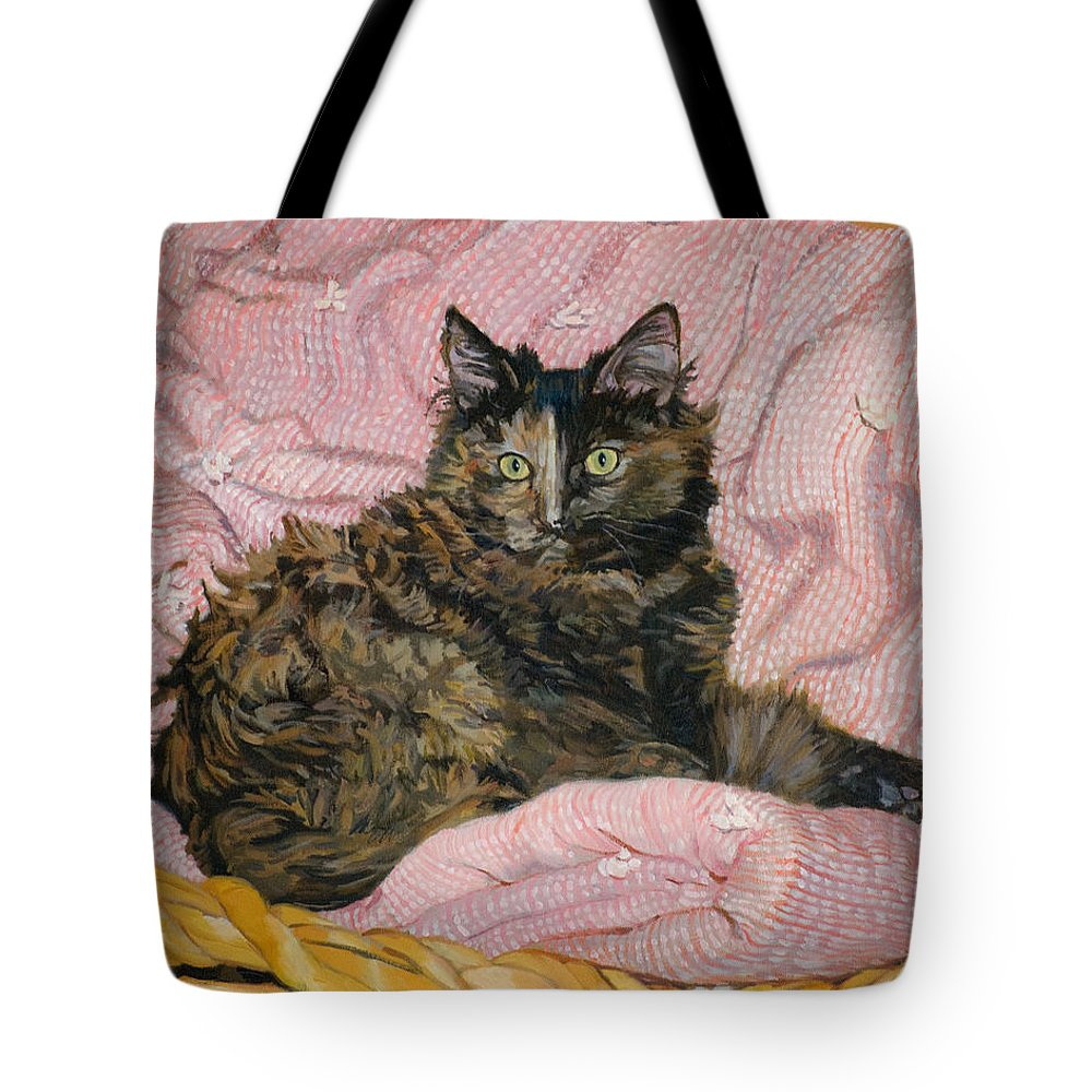 Tortoiseshell Cat Tote Bag featuring the painting Torti by Joanna Franke