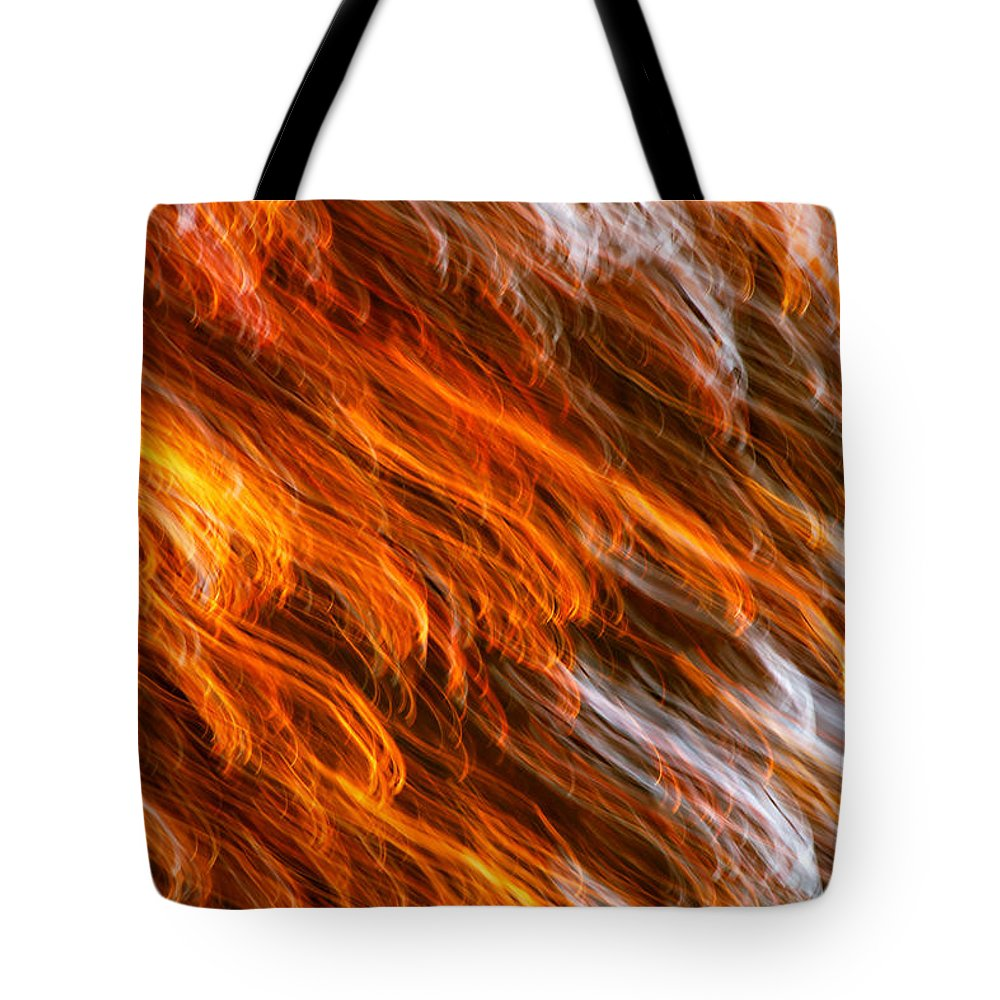 Abstract Tote Bag featuring the photograph Touched By Fire by Rachel Cohen