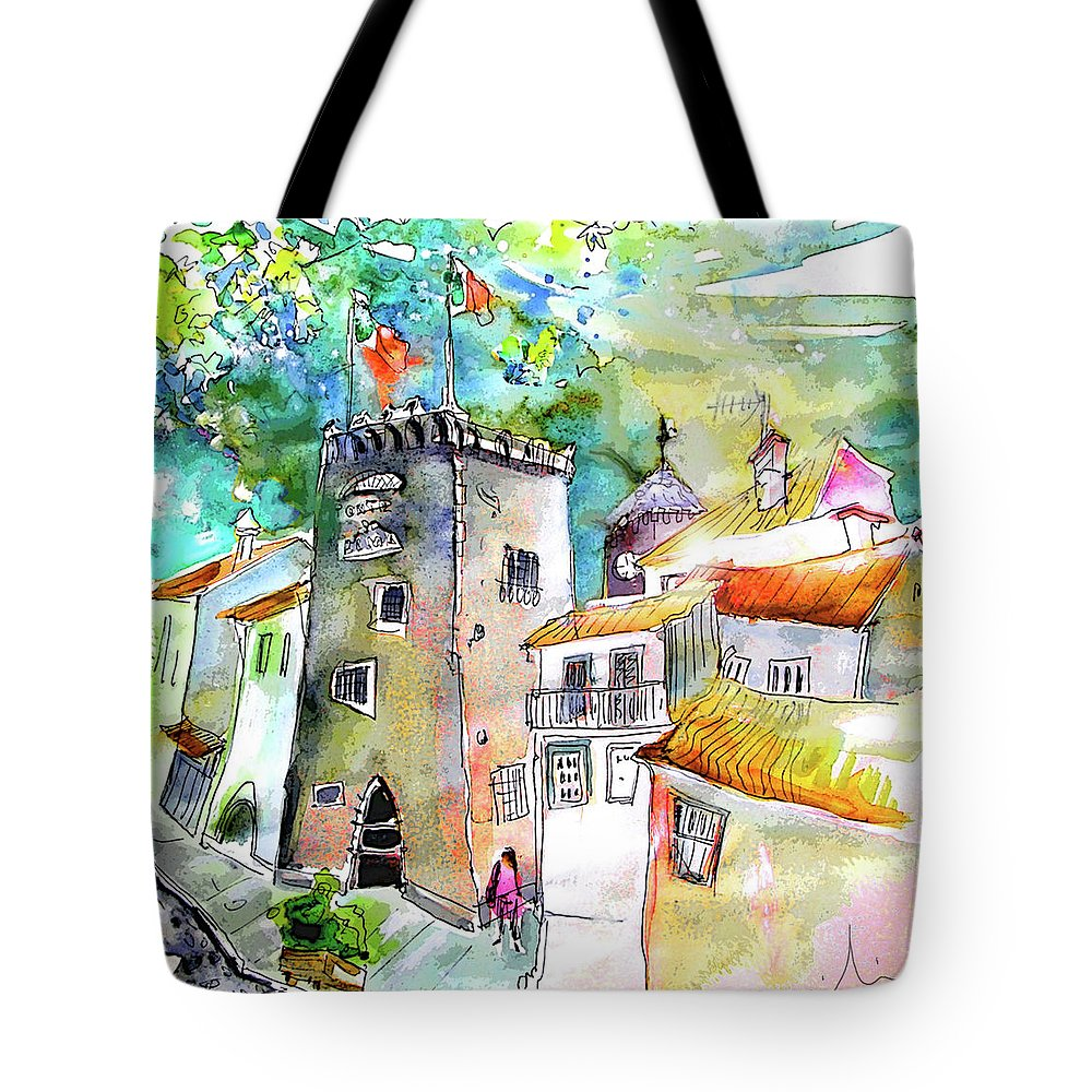 Portugal Tote Bag featuring the painting Tower in Ponte de Lima in Portugal by Miki De Goodaboom
