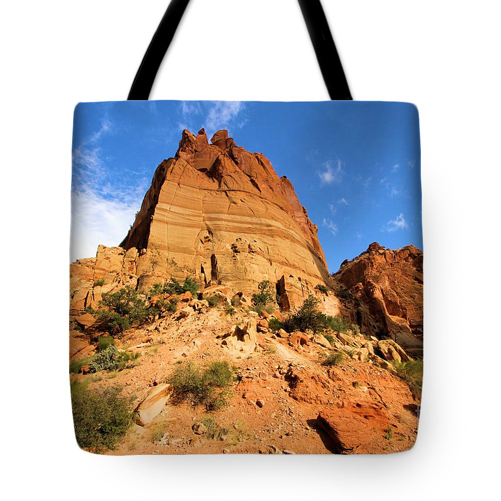 Capitol Reef National Park Tote Bag featuring the photograph Tower In The Sky by Adam Jewell
