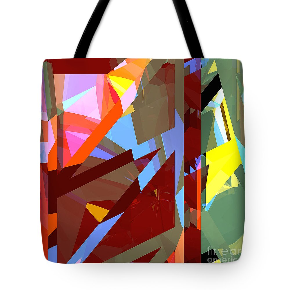 Abstract Tote Bag featuring the digital art Tower Series 19 Jungle House by Russell Kightley
