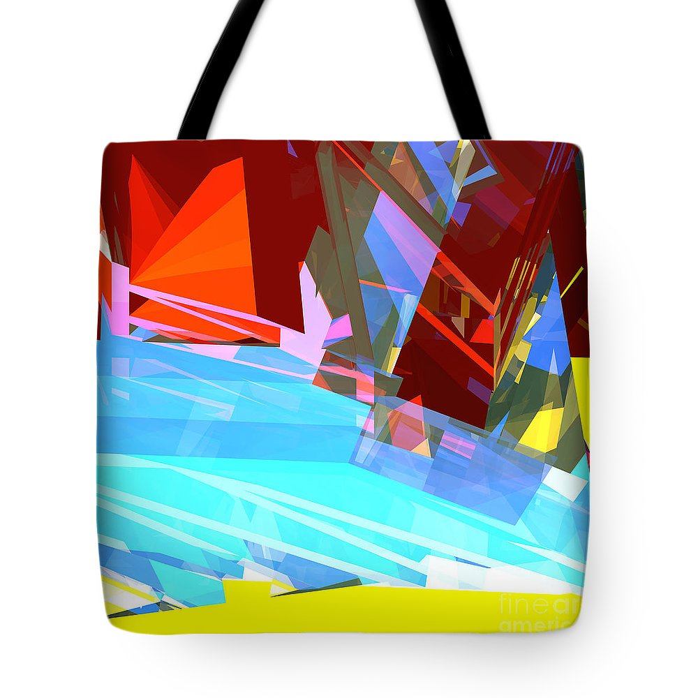 Abstract Tote Bag featuring the digital art Tower Series 28 by Russell Kightley