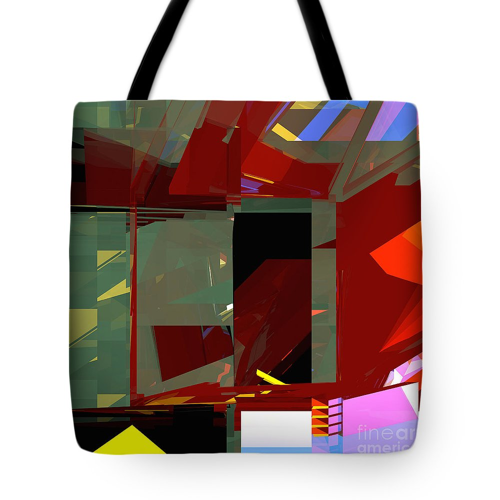 Abstract Tote Bag featuring the digital art Tower Series 31 War by Russell Kightley