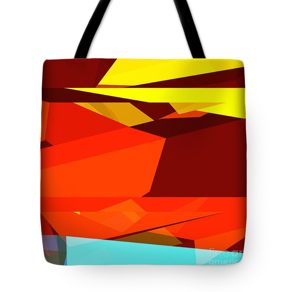 Abstract Tote Bag featuring the digital art Tower Series 35 Australian Colours by Russell Kightley