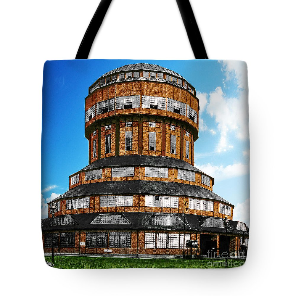 Tower That Inspired Metropolis Tote Bag featuring the digital art Tower That Inspired Metropolis by Mo T