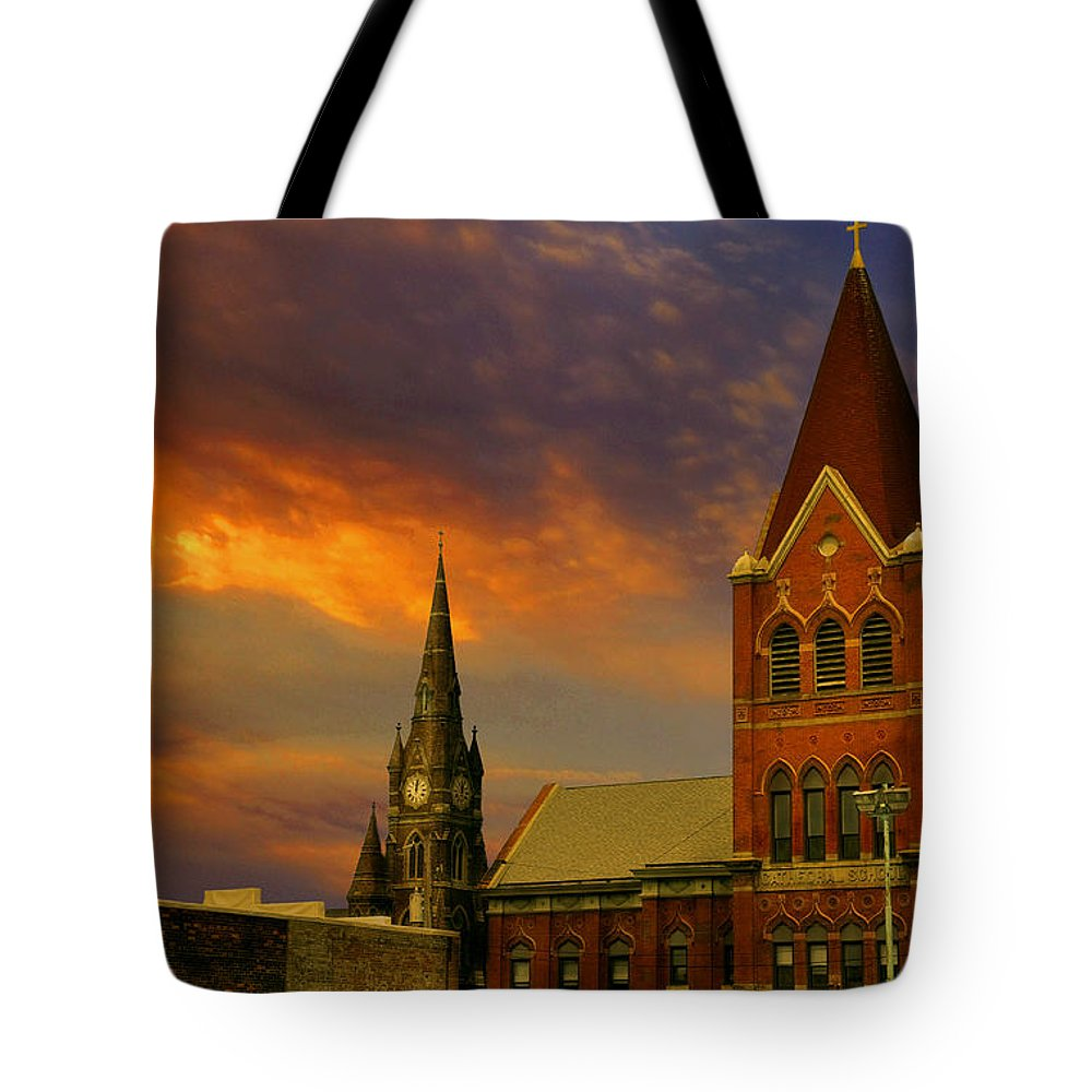 Church Tote Bag featuring the photograph Towers Of Faith by Brian Fisher