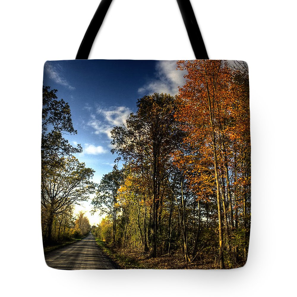 Road; xdop Tote Bag featuring the photograph Town Road North by John Herzog