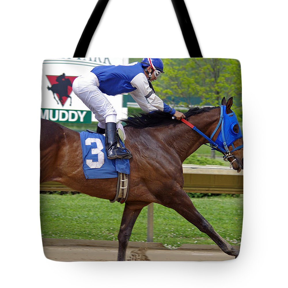 Thoroughbred Tote Bag featuring the photograph Track Listed Muddy by J M Lister