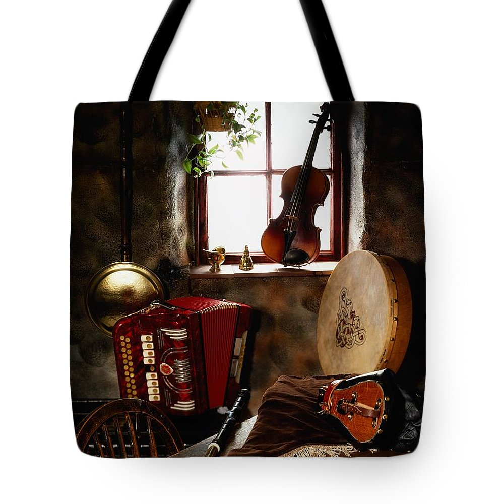 Bodhran Tote Bag featuring the photograph Traditional Musical Instruments, In Old by The Irish Image Collection