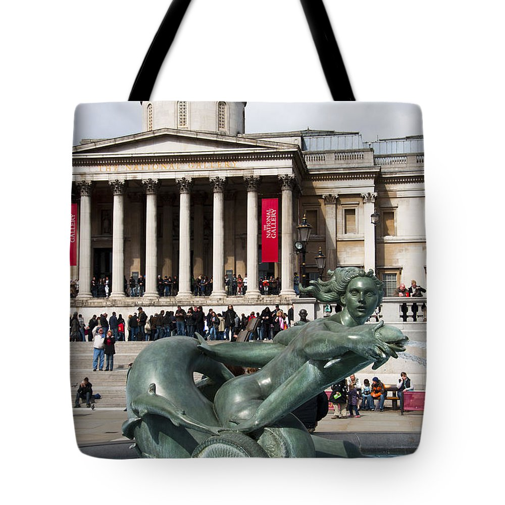 2011 Tote Bag featuring the photograph Trafalgar Square With Fountain by Andrew Michael