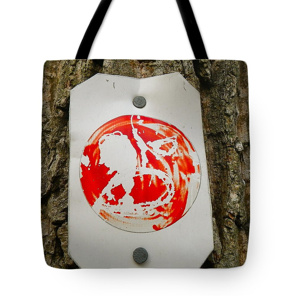 Tree Tote Bag featuring the painting Trail Art - Fish Bowl by Anna Ruzsan