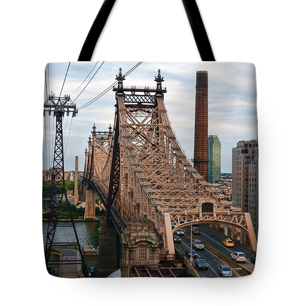 Queensboro Bridge Tote Bag featuring the photograph Tram View East by S Paul Sahm