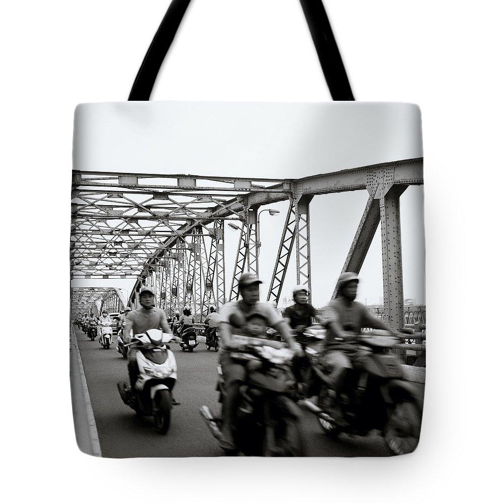 Asia Tote Bag featuring the photograph Trang Tien Bridge Hue by Shaun Higson