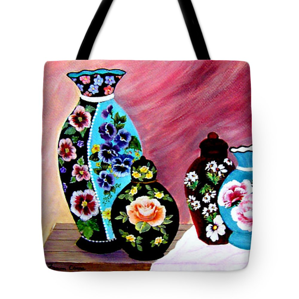 Still Life--vases Tote Bag featuring the painting Treasures by Fram Cama