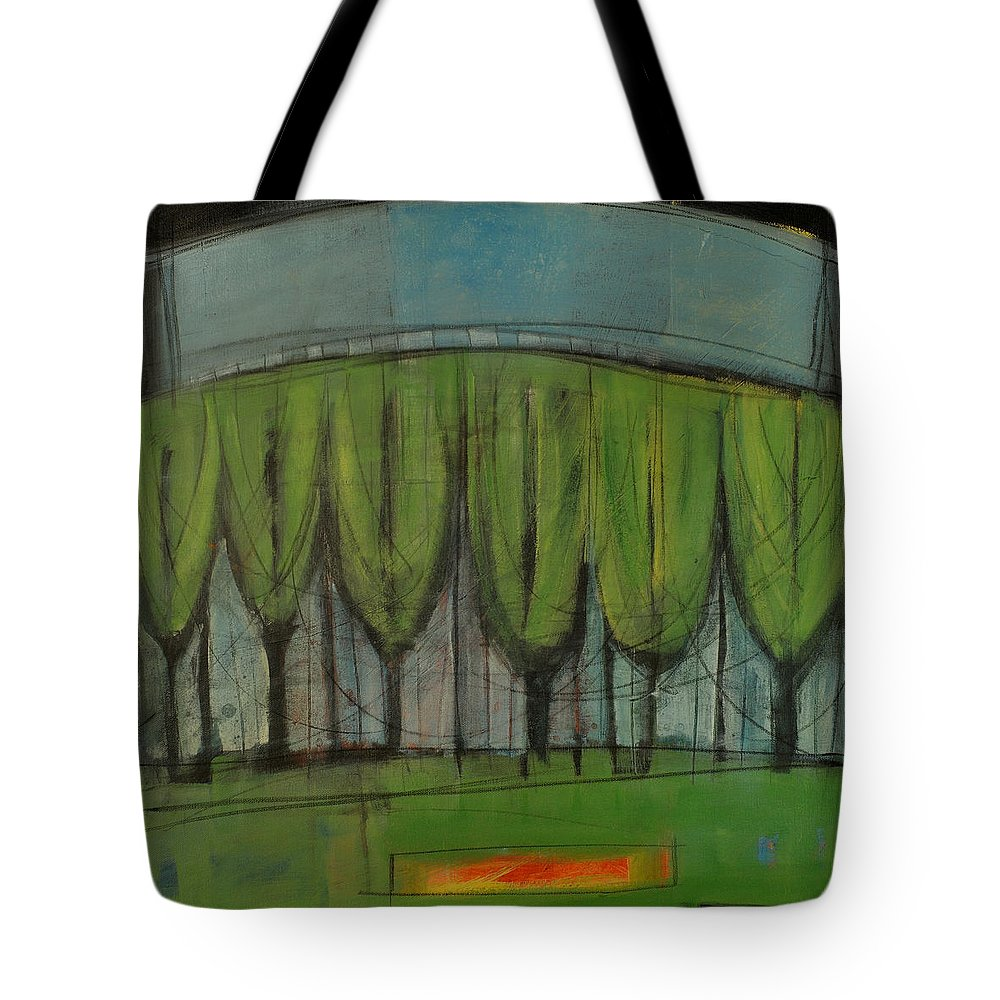 Wineglass Tote Bag featuring the painting Trees And Burning Log by Tim Nyberg