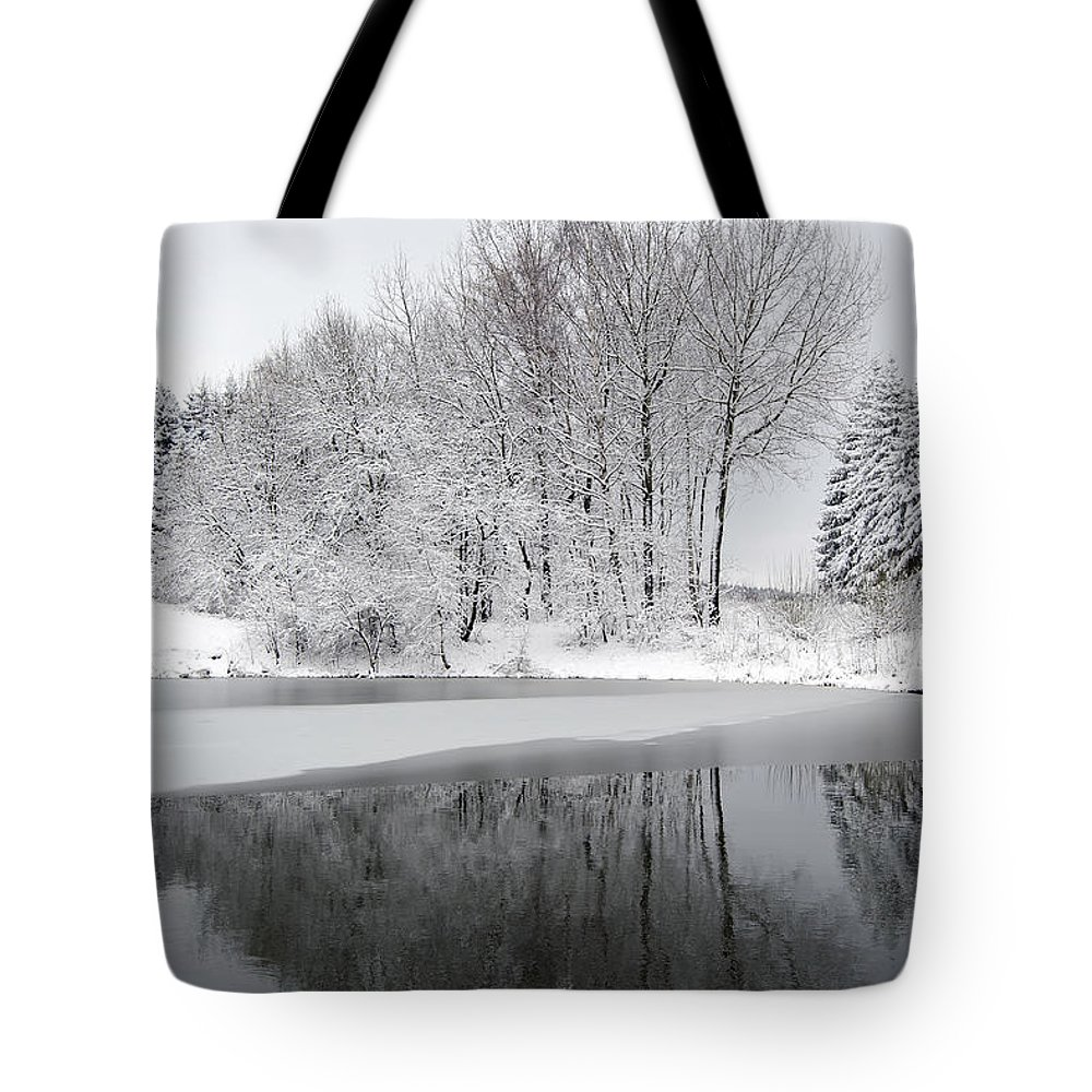 Winter Tote Bag featuring the photograph Trees By The Lake by Michal Boubin