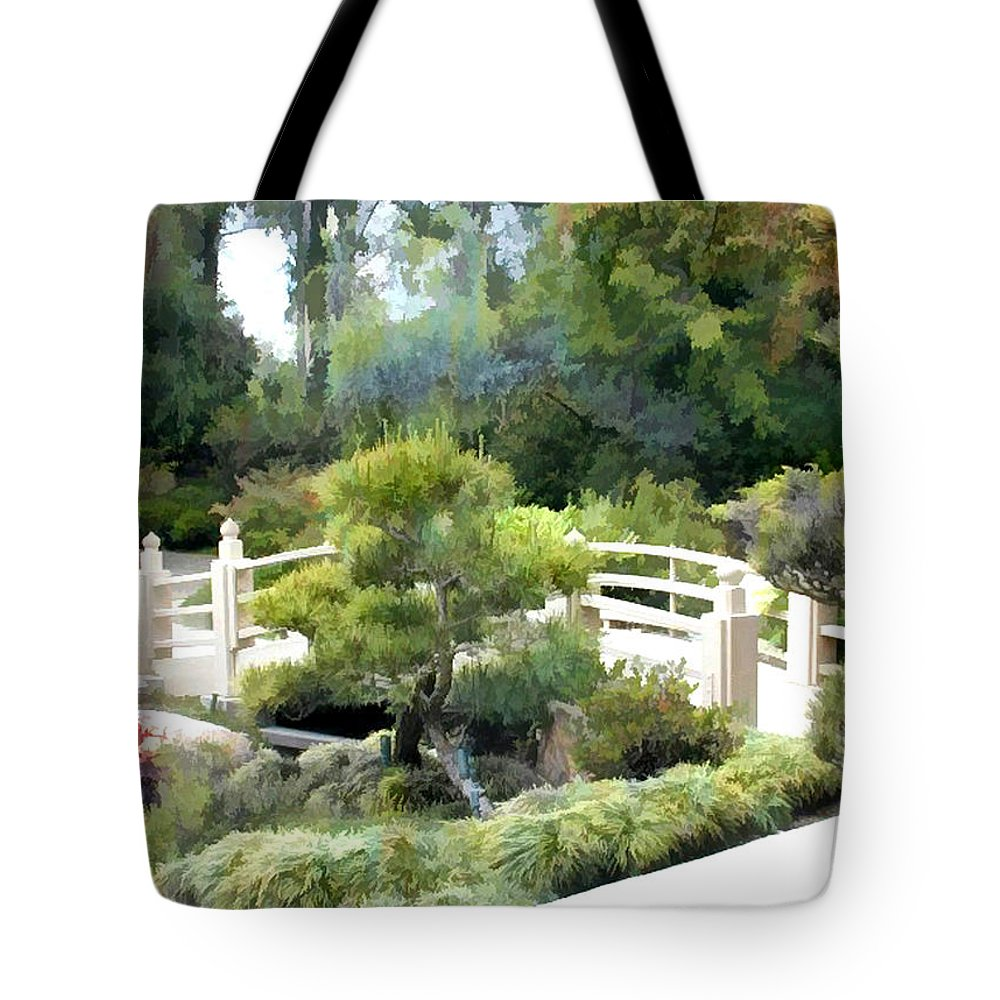 Japanese Garden Tote Bag featuring the painting Trees Not Trolls At The Bridge by Elaine Plesser