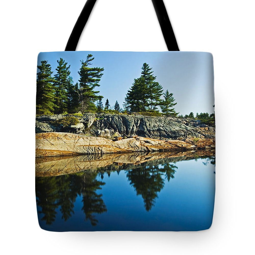 Calming Tote Bag featuring the photograph Trees Reflection In Water, Georgian by Mike Grandmailson