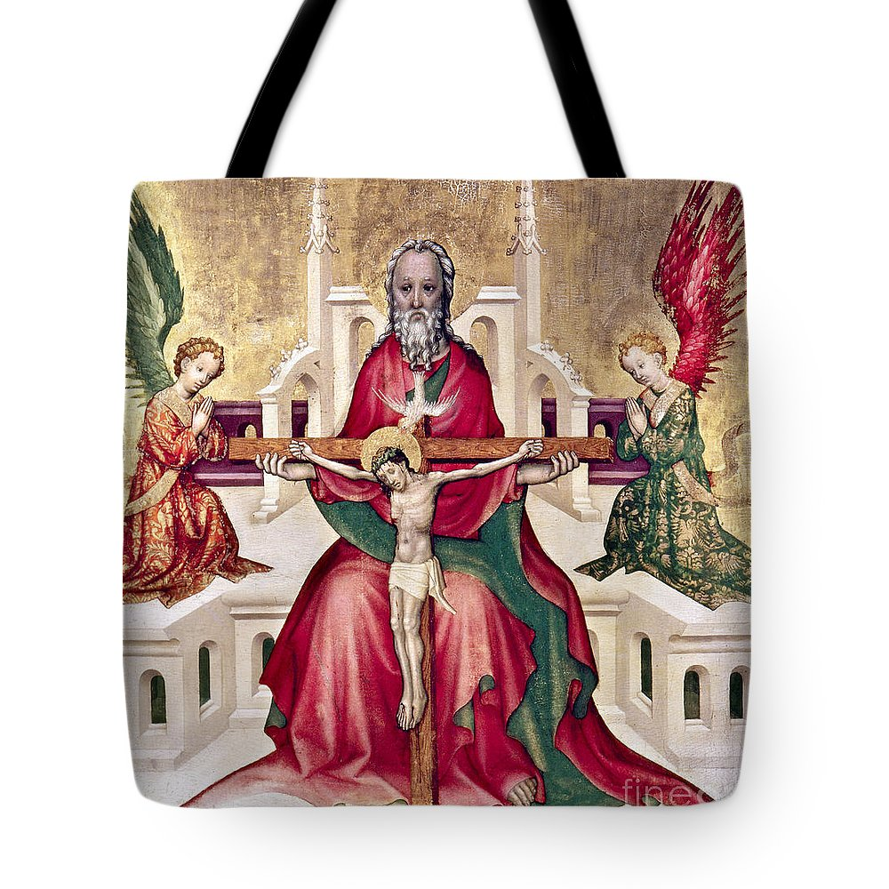 15th Century Tote Bag featuring the photograph Trinity And Christ by Granger