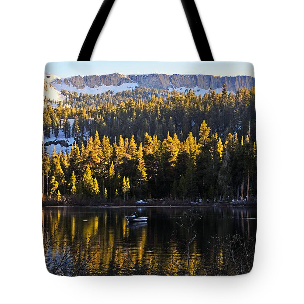 Trolling Tote Bag featuring the photograph Trolling On Twin Lakes by Lynn Bauer