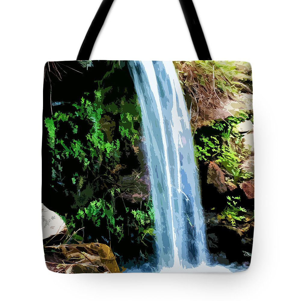 Tropical Tote Bag featuring the digital art Tropical Waterfall And Pond by Phill Petrovic
