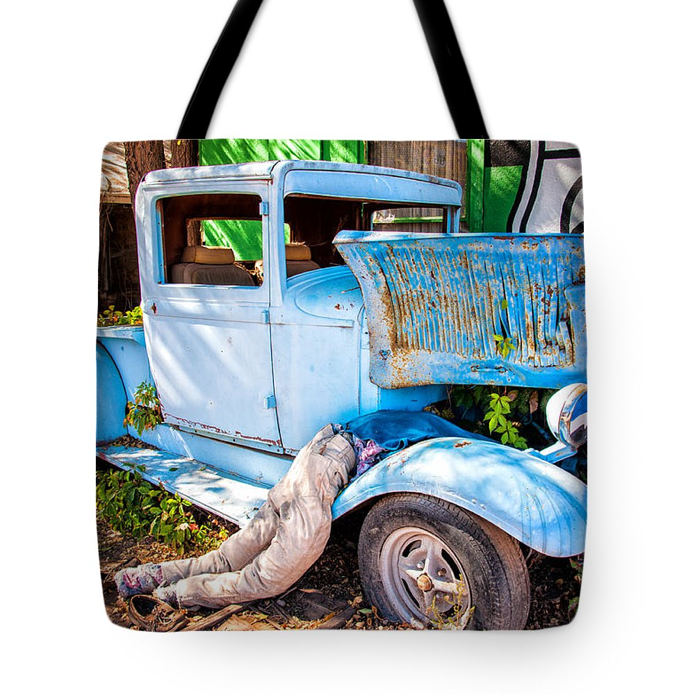 Truck Tote Bag featuring the photograph Trouble On Route 66 by Diane Wood