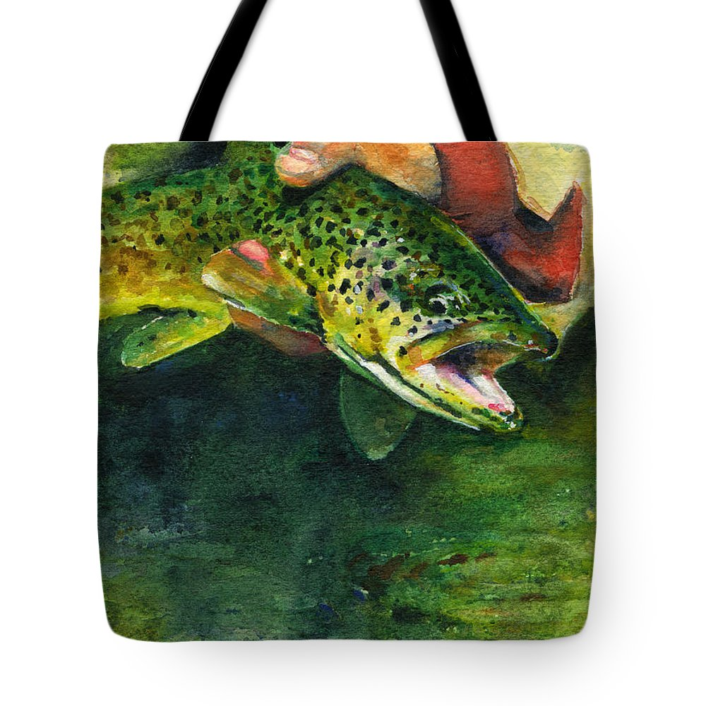 Fish Tote Bag featuring the painting Trout In Hand by John D Benson