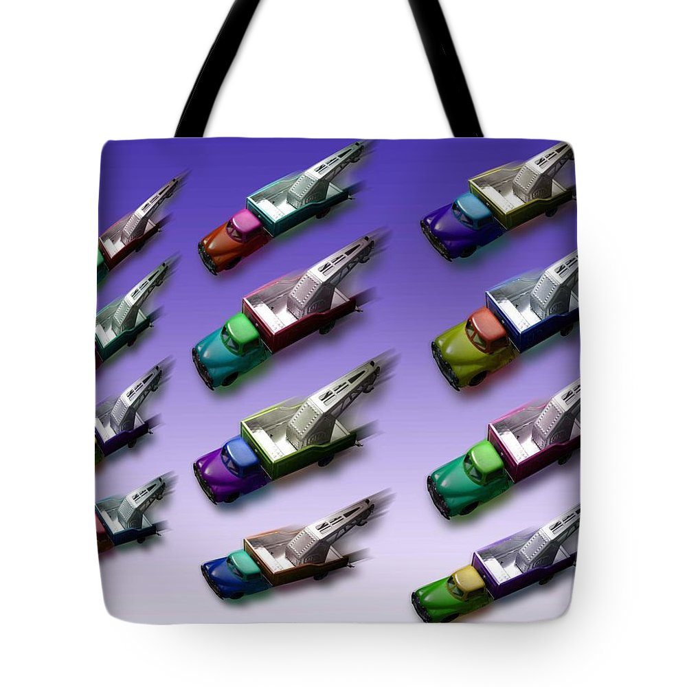Tow Tote Bag featuring the painting Truck Meet by Charles Stuart