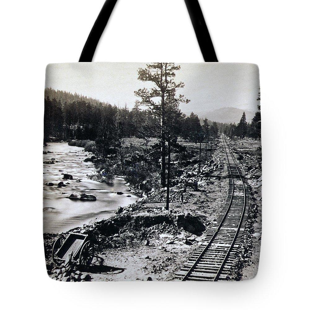 Truckee Tote Bag featuring the photograph Truckee River - California Looking Toward Donner Lake - C 1865 by International Images
