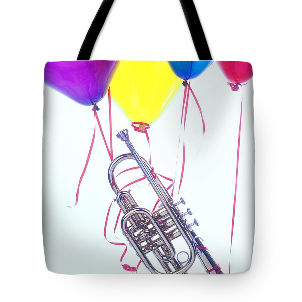 Trumpet Tote Bag featuring the photograph Trumpet Lifted By Balloons by Garry Gay