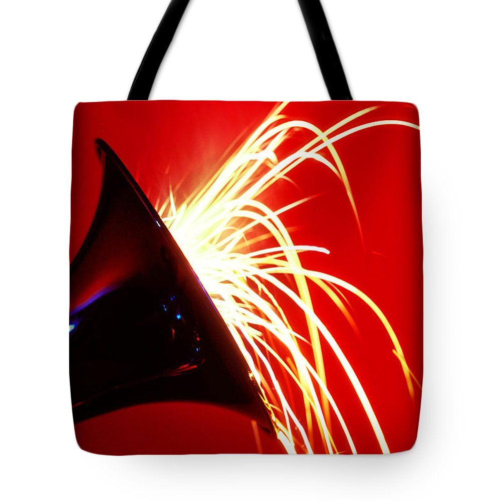 Trumpet Tote Bag featuring the photograph Trumpet Shooting Sparks by Garry Gay