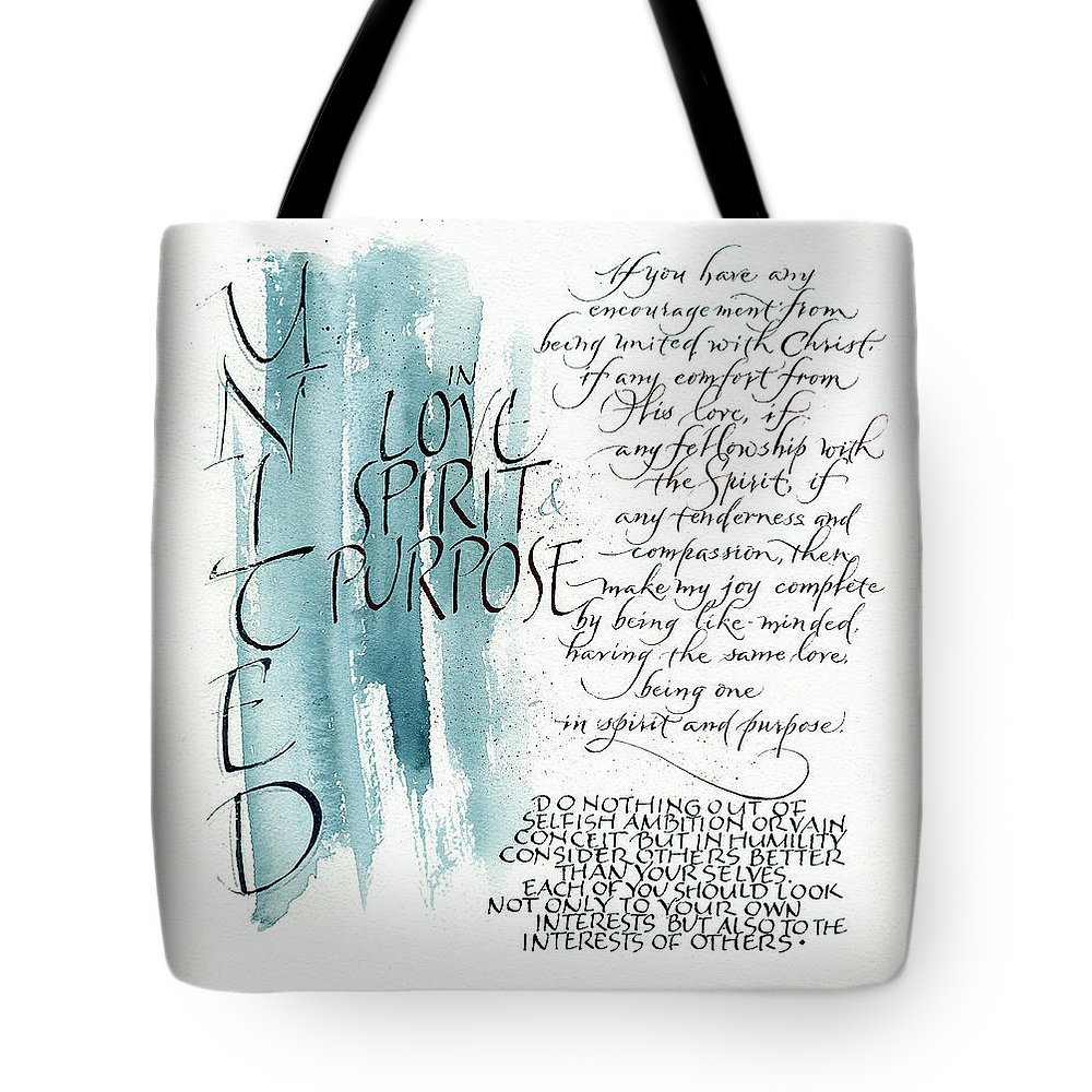 5th Upload Tote Bag featuring the painting Tryptic Panel 1 - United by Judy Dodds