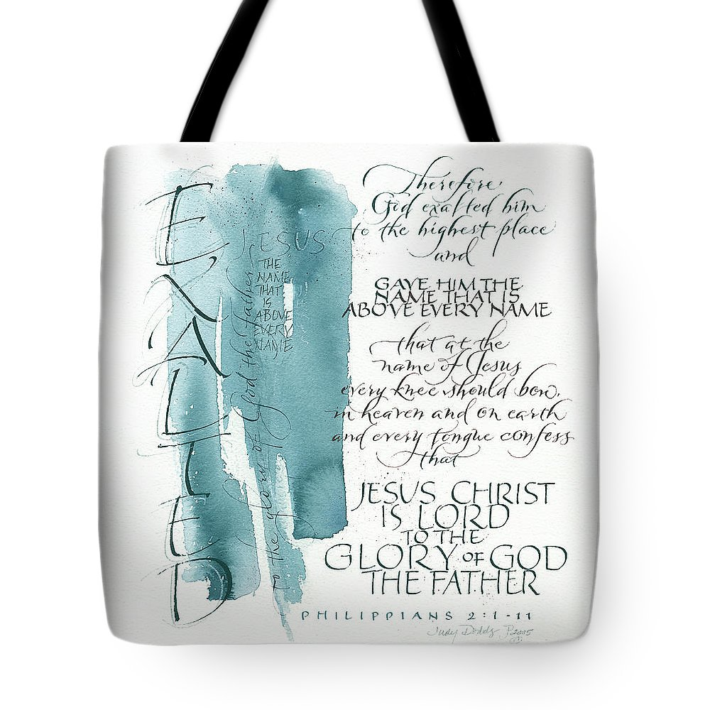 God Tote Bag featuring the painting Tryptic Panel 3 - Exalted by Judy Dodds