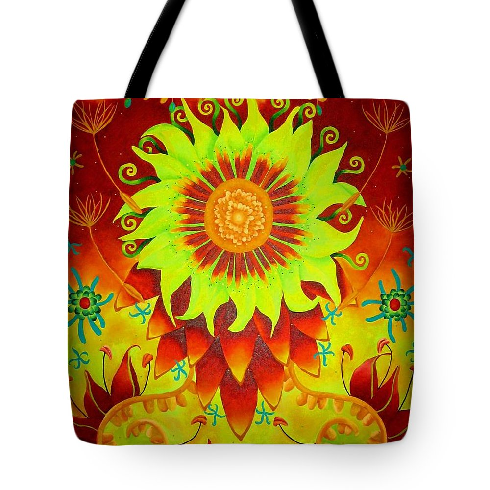 Red Tote Bag featuring the painting Tu by Elizabeth Elequin