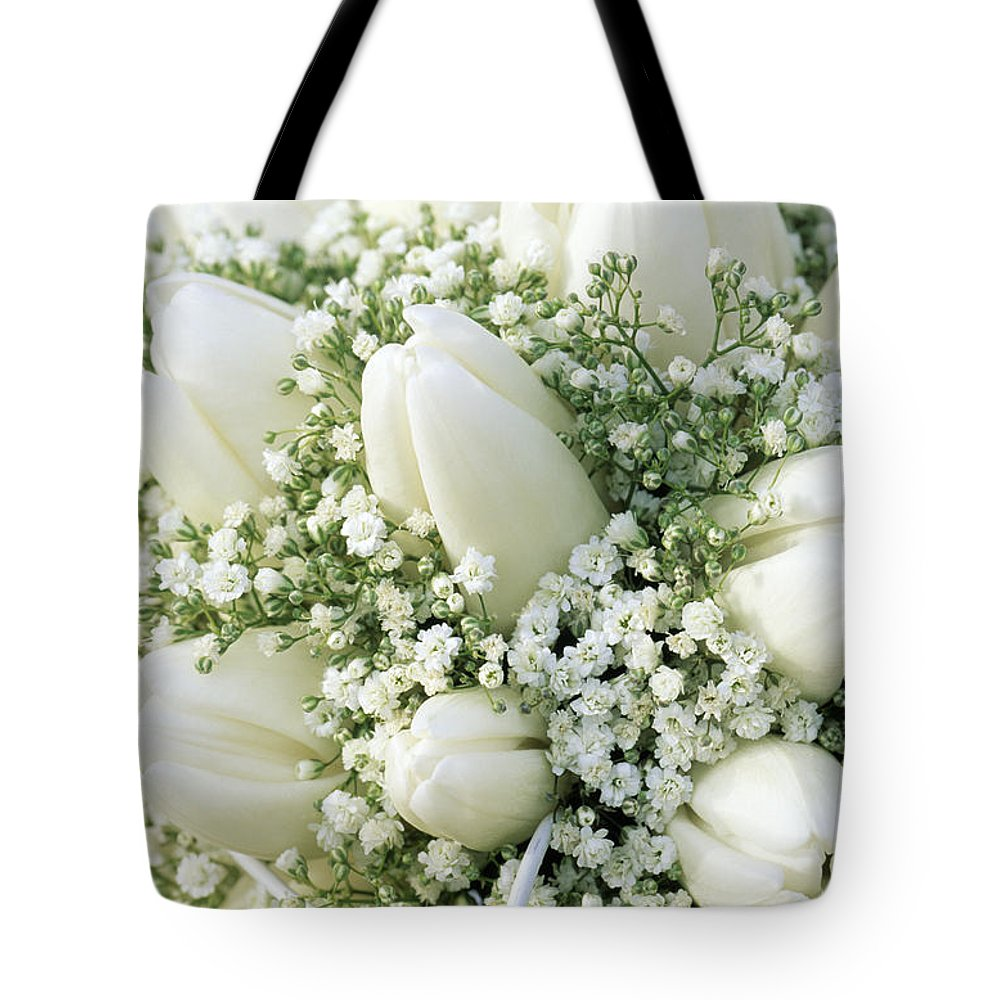 Fn Tote Bag featuring the photograph Tulip Tulipa Sp And Babys Breath by Jan Vermeer